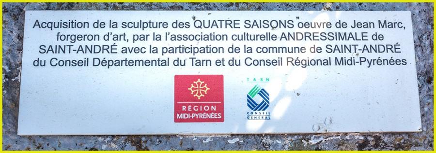 """plaque commémorative """"les Quatre Saisons"""" Jean MARC"""