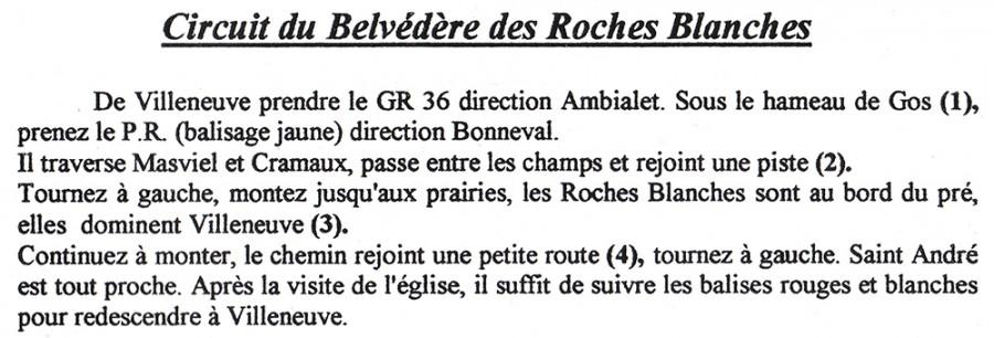 descriptif circuit du Belvédère des Roches Blanches