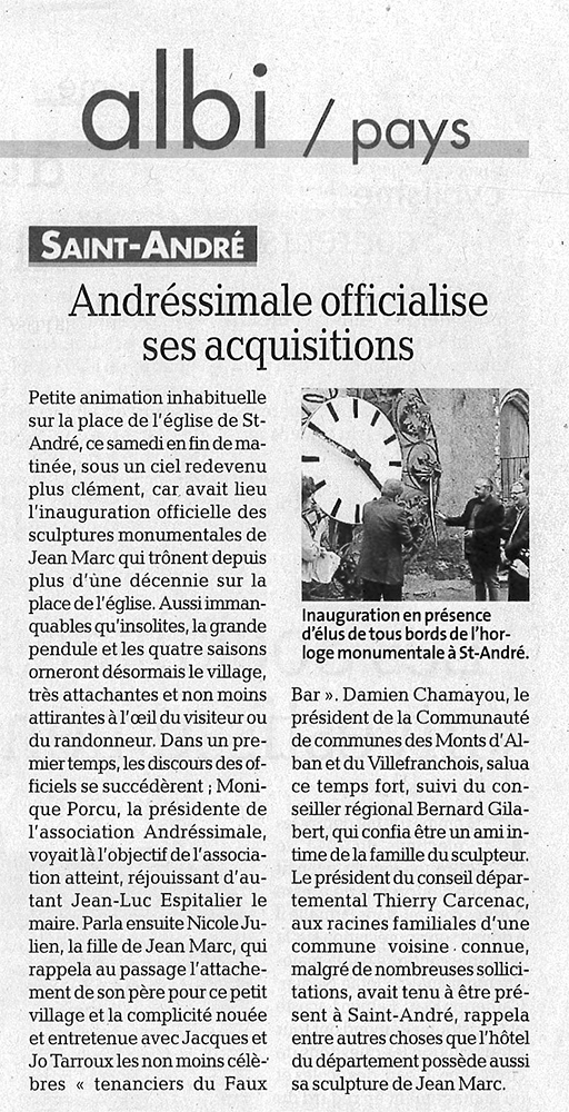 "Article ""Andressimale officialise ses acquisitions"""