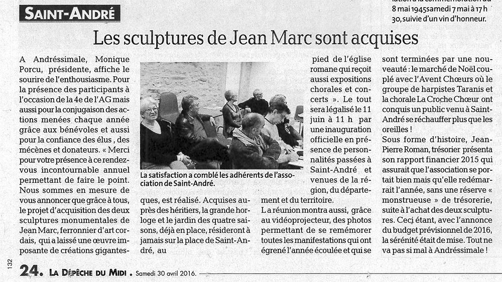 """Article """"Les sculptures de Jean MARC sont acquises"""""""