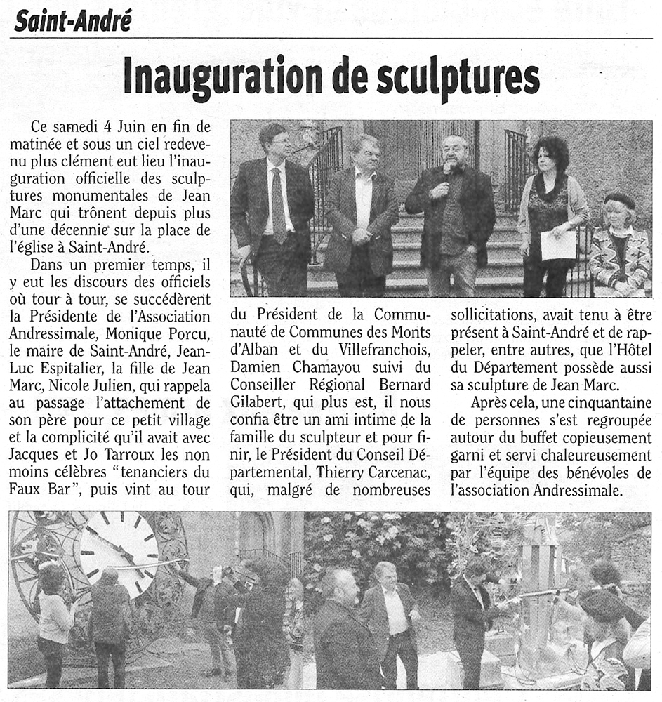 "Article ""Inauguration des sculptures"""