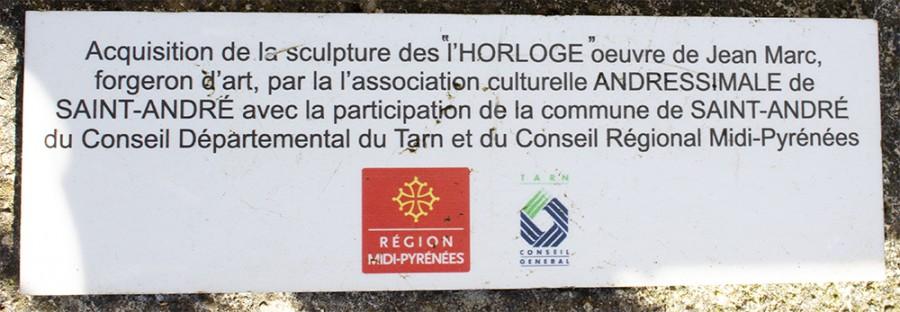 """plaque commémorative """"l'Horloge"""" Jean MARC"""